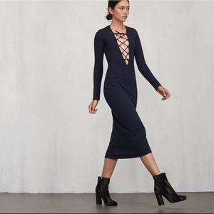 Reformation Navy Lace Up Ribbed Edison Midi Dress